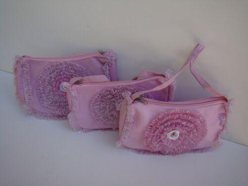 New Little Girls Pink or Light Pink or Light Dark Pink Fabric Flower Purse
