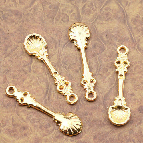 14Pcs  gold  tone  floral spoon design charms EF2579