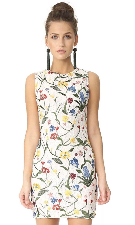 Alice + Olivia Embroidered Nat Dress White Floral Size 4 NWOT