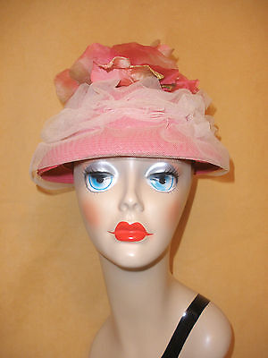1950's Bright Pink Straw Hat w/ Ruched Tulle & Large Flowers on Top - Perido