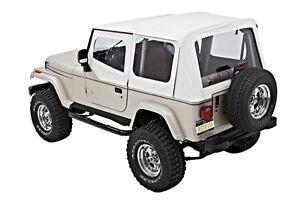 bestop 1987 1995 jeep wrangler yj white denim replacement soft top 55820 52 ebay. Black Bedroom Furniture Sets. Home Design Ideas