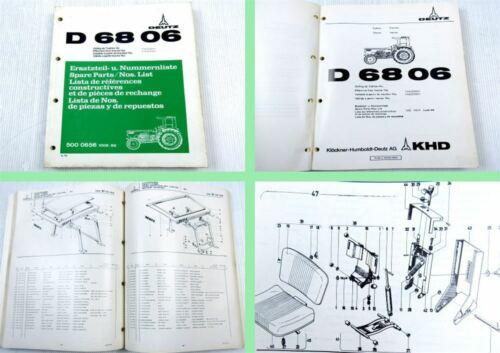 Deutz D 6806 Traktor Schlepper Ersatzteilliste 1975 Original