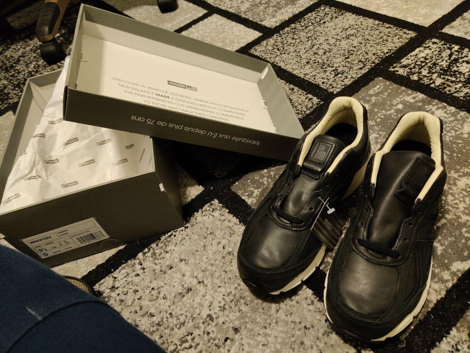 Zapato de correr Mens New Cuero Negro M990v4 Balance Nuevo en Caja M990FEB4