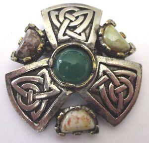 Broche Celtique Couleur Argent Cabochon Pierre De Couleur Bijou Vintage 444