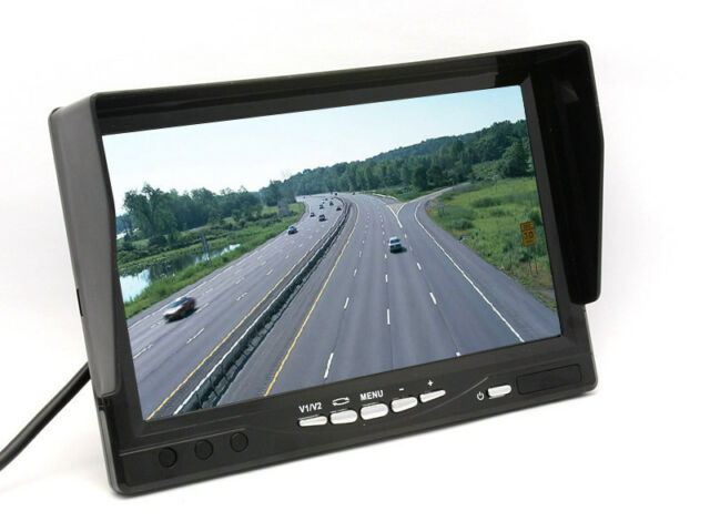 "HD 800*480P 7"" TFT LCD Monitor Anti-Sunshine 2ch Video Input Remote For Car Bus"