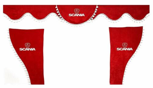 Set 3 RED Curtains Truck Accessories for Scania  R P G L S White Pom Poms
