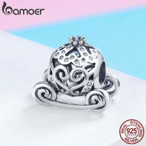 Bamoer .925 Sterling Silver Charm /& Zircone Cubique Pumpkin Carriage Fit Bracelet Bijoux