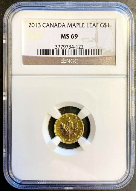 NGC MS69 2013 CANADA GOLD MAPLE LEAF $1 1/20 oz  .9999 FINE GOLD   (BC22)