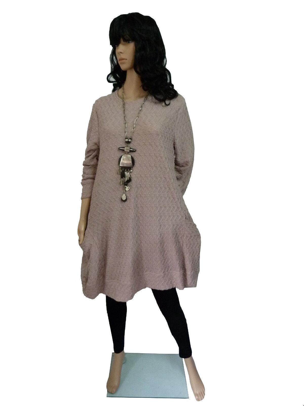 Gr. 38 40 42 Kleid  Big-Shirt  Tunika  Puder-pink  LAGENLOOK
