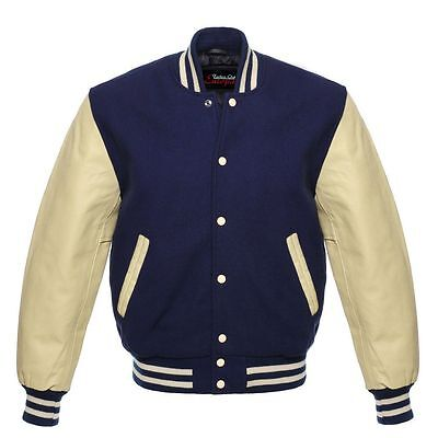 Quality premium Varsity Men Navy Blue Wool Jacket with Off White Leather Sleeve