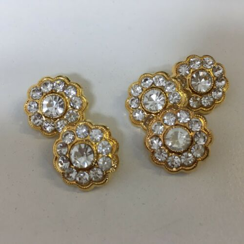 Crystal Diamante Buttons Gold /& Silver All Shapes