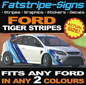 Tigre-Rayas-Graficos-Pegatinas-De-Vinilo-De-Ford-Escort-Focus-Fiesta-St-Turbo-Calcomanias
