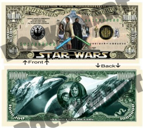 STAR WARS One Million Bill Novelty Notes 1 5 or 25