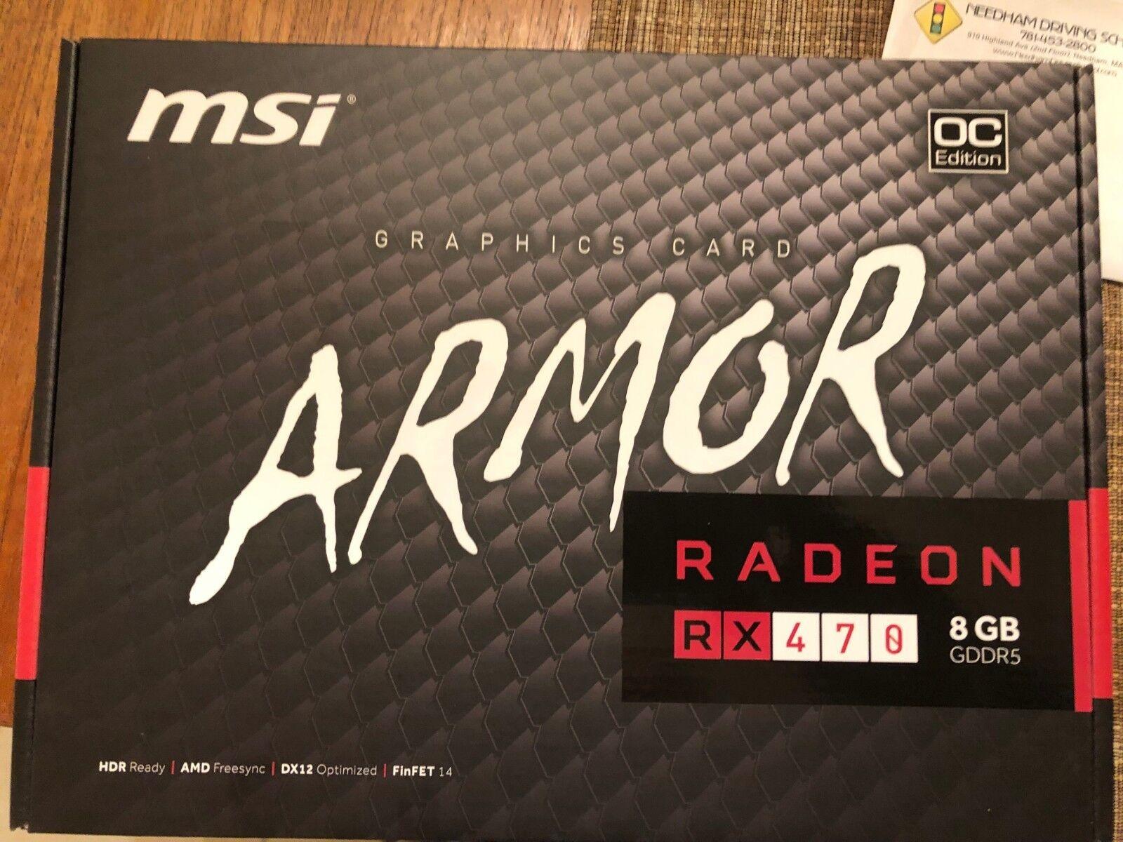 MSI AMD Radeon RX 480 Armor (RX 480 ARMOR 8G OC) 8GB GDDR5 SDRAM PCI  Express 3 0 x16 Video Card