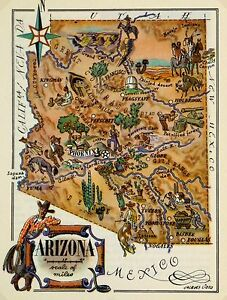 Arizona Antique Vintage Pictorial Map