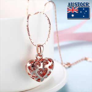 NeW-18K-Rose-Gold-Filled-Filigree-Heart-Pendant-Necklace-With-Swarovski-Crystal