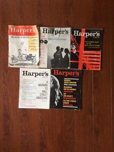 Rare Vintage Magazine History Lot 5 HARPER'S '50-'60 Brogan Matthiessen Kearney