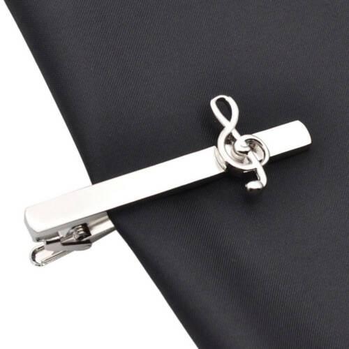 Moda Hombre Vintage Nota Musical Clip de Corbata Corbata Corbata Pin Clips de Color Plata