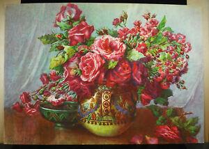 Lapparent-Melaz-Chromolithography-Pot-Flowers-and-Roses-towards-1930-Flowers-Pot