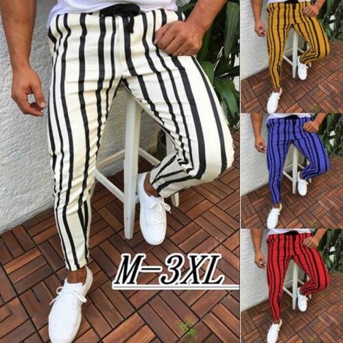 Men Casual Striped Slim Fit Skinny Sports Long Pencil Pants Trousers Jogger