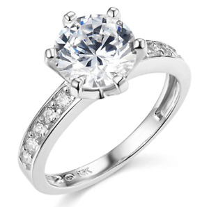 3.50 Ct Round Cut Solid 14K White Gold Created Diamond Engagement Wedding Ring