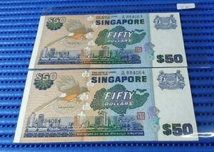2X-Singapore-Bird-Series-50-Note-A-98-884063-884064-Run-Dollar-Note-Currency