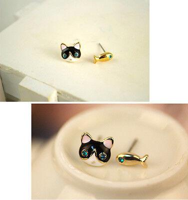 new design fashion 1Pair Cute Mini Cate with Fish Shape Women Stud Earrings Hot