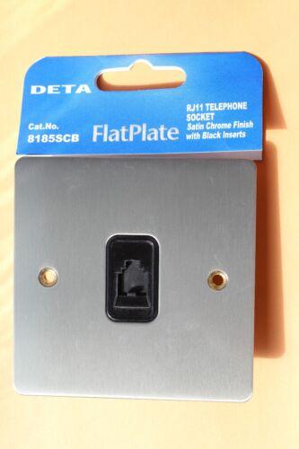 6 x Deta 8185SCB Brushed//Satin Chrome FlatPlate RJ11 Telephone Socket Black Ins