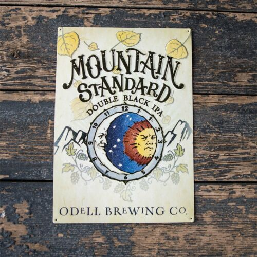 """Odell Brewing Co /""""Mountain Standard Double Black IPA/"""" Tin Tacker Metal Beer Sign"""