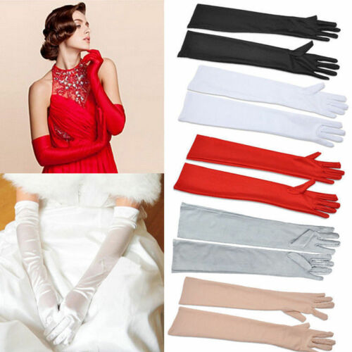 Womens Satin Long Gloves Opera Wedding Bridal Evening Party Prom Costume New