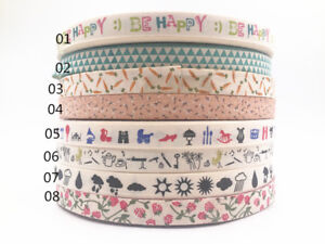 5-10Y-15mm-Printed-flower-Cotton-Ribbon-Handmade-Present-Package-sewing-Craft