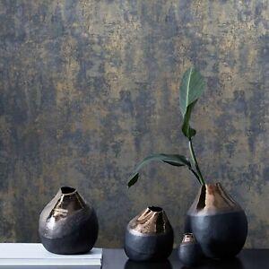 Wallpaper-rustic-navy-blue-gray-gold-Plain-Textured-modern-faux-Concrete-plaster