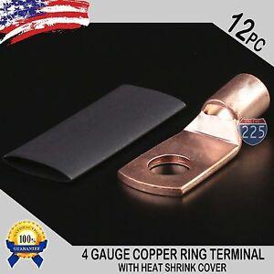 "12 PCS 4 AWG 4 GA. Copper Ring Terminal Heat Shrink 5/16"" Hole Lug Connector US"