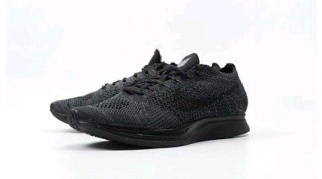 Mens 8 Womens 9.5 Nike Flyknit Racer Shoes White Black Volt 526628 ...