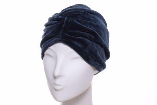 Mayser Turban Omara Samt Jersey blau Velvet Mütze Chemo Haube Indoor Outdoor