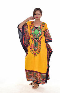 3374d3e2d9 New Women Girl Kaftan 100% Cotton Tunic Top Plus Size Yellow color ...