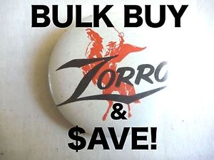 WHOLESALE! 10x ZORRO AUSSIE PINBACK BADGES GUY WILLIAMS DISNEY TV! WHOLESALE!
