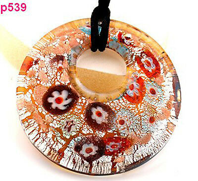 one brown circularity flower Glass Pendant Necklace p539