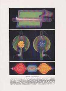 Schattenkreuzroehre-Geisslersche-Roehre-FARBDRUCK-von-1912-Elektronenroehre-Physik