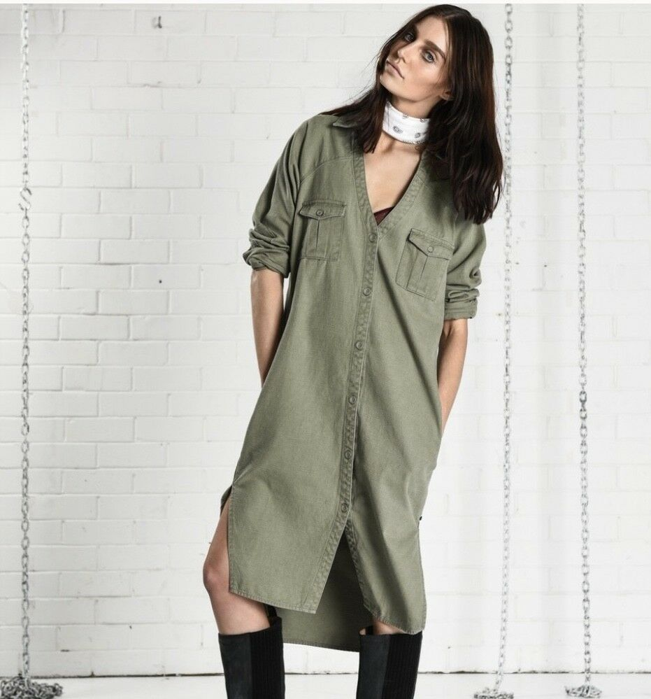NEW One Teaspoon Army Green Cotton Button Bought at Free People Duster Coat  XS
