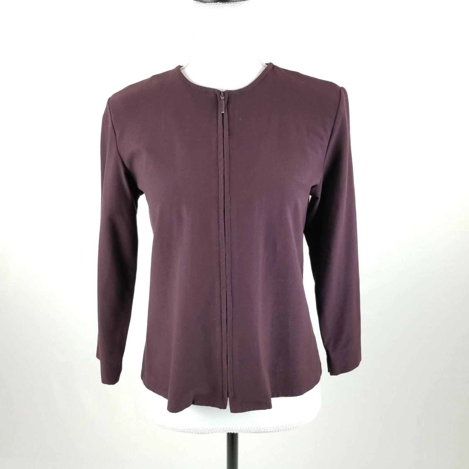 Eileen Fisher Womens Sweater Burgundy Cardigan Zipper Stretch Long Sleeve Sz S