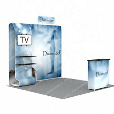 10ft Custom Fabric Trade Show Display Booth Expo Back Wall Tv Stand Podium