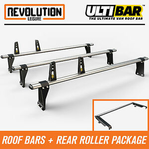 Roller Ford Transit L3 H2 Medium Roof 2014 Van Guard 3 x ULTI Bars Roof Rack