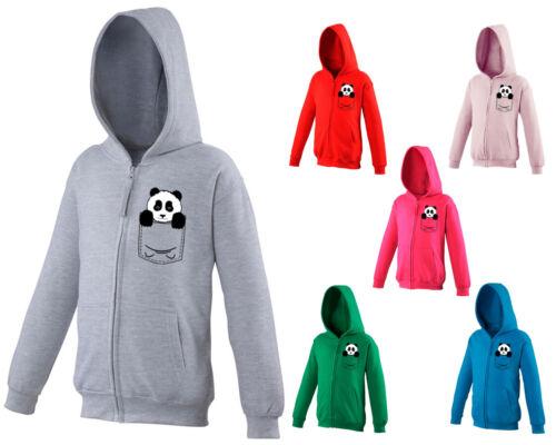 Kids Childrens Zip Up Hoodie Panda Bear Cute Funny Animal Pocket Print Ages 5-13