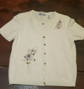 Vintage Embroidered Short Sleeve Sweater