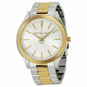 bf6df620bb66 MICHAEL KORS MK3198 Slim Runway Two Tone Beige Dial Classic 42mm ...