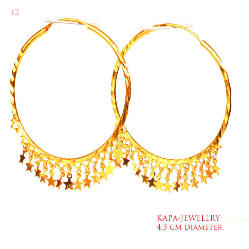 Kapa 18ct Gold Earrings Asian Hoop Gold Plated Large Earrings