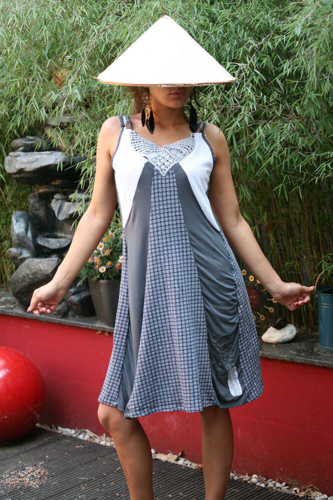 AVENTURES DES TOILES Frankreich Kleid Kleid Kleid Sommerkleid Minikleid Träger Gr. 42   G105 240636