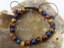 Natural Gemstone Men's Shamballa bracelet all 8mm BLUE RED BROWN Tiger Eye beads
