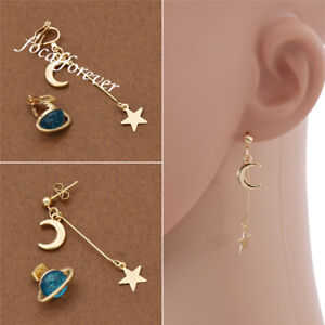Image is loading Womens-Planet-Earrings-Gold-Moon-Star-Dangle-Irregular- f34077428